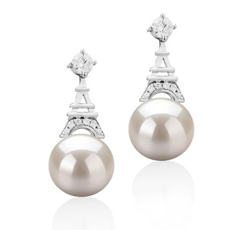Eiffer-Tower White 8-9mm AAAA Quality Freshwater 925 Sterling Silver Cultured Pearl Earring Pair