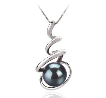 Eldova Black 8-9mm AAA Quality Japanese Akoya 14K White Gold Cultured Pearl Pendant