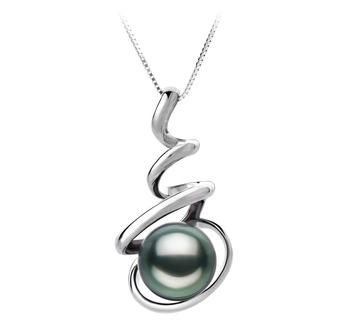 Eldova Black 8-9mm AAA Quality Tahitian 14K White Gold Cultured Pearl Pendant