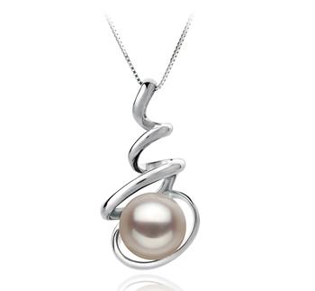 Eldova White 8-9mm AAA Quality Japanese Akoya 14K White Gold Cultured Pearl Pendant