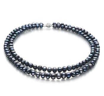 Eliana Black 6-7mm Double Strand A Quality Freshwater Cultured Pearl Necklace