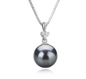 Ellice Black 8-9mm AA Quality Japanese Akoya 925 Sterling Silver Cultured Pearl Pendant