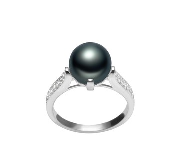 Erica Black 8-9mm AAA Quality Freshwater 925 Sterling Silver Cultured Pearl Ring