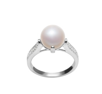 Erica White 8-9mm AAA Quality Freshwater 925 Sterling Silver Cultured Pearl Ring