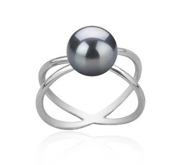 Esty Black 8-9mm AAA Quality Freshwater 925 Sterling Silver Cultured Pearl Ring