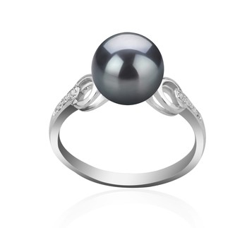 Eunice Black 8-9mm AAAA Quality Freshwater 925 Sterling Silver Cultured Pearl Ring