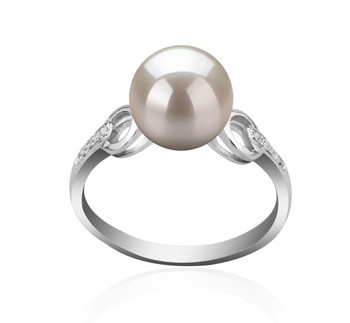 Eunice White 8-9mm AAAA Quality Freshwater 925 Sterling Silver Cultured Pearl Ring