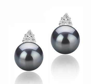 Evelyn Black 8-9mm AAAA Quality Freshwater 925 Sterling Silver Cultured Pearl Earring Pair