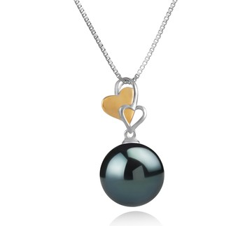 Felicia Black 11-12mm AAA Quality Tahitian 925 Sterling Silver Cultured Pearl Pendant