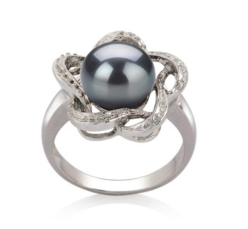 Fiona Black 9-10mm AA Quality Freshwater 925 Sterling Silver Cultured Pearl Ring
