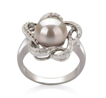 Fiona White 9-10mm AA Quality Freshwater 925 Sterling Silver Cultured Pearl Ring