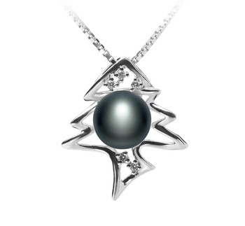 Fishbone Black 7-8mm AA Quality Freshwater 925 Sterling Silver Cultured Pearl Pendant