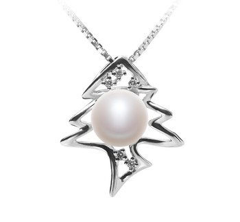 Fishbone White 7-8mm AA Quality Freshwater 925 Sterling Silver Cultured Pearl Pendant