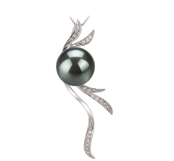 Florence Black 10-10.5mm AAA Quality Tahitian 14K White Gold Cultured Pearl Pendant