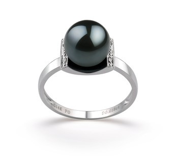 Francine Black 8-9mm AA Quality Japanese Akoya 14K White Gold Cultured Pearl Ring