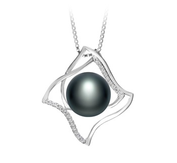Freda Black 10-11mm AAA Quality Freshwater 925 Sterling Silver Cultured Pearl Pendant
