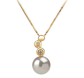 Galina White 7-8mm AAA Quality Japanese Akoya 14K Yellow Gold Cultured Pearl Pendant