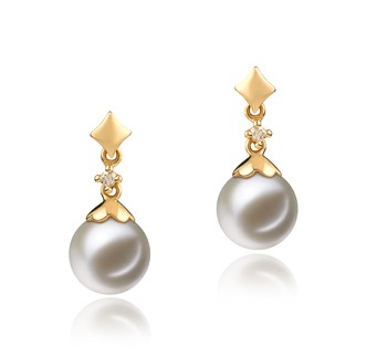 Georgia White 7-8mm AAAA Quality Freshwater 14K Yellow Gold Cultured Pearl Earring Pair