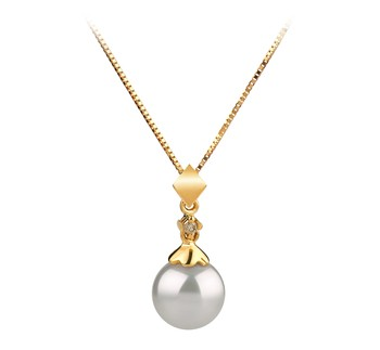 Georgia White 7-8mm AAA Quality Japanese Akoya 14K Yellow Gold Cultured Pearl Pendant