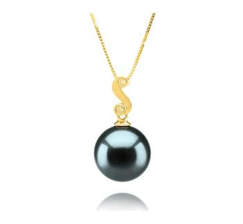 Gisela Black 10-11mm AAA Quality Tahitian 14K Yellow Gold Cultured Pearl Pendant