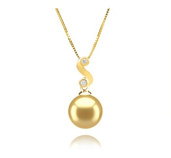 Gisela Gold 10-11mm AAA Quality South Sea 14K Yellow Gold Cultured Pearl Pendant