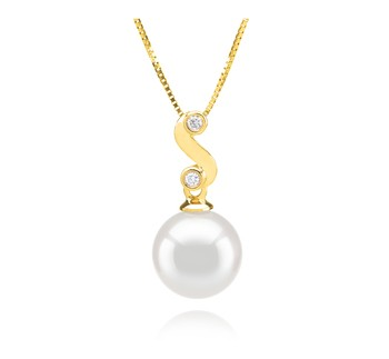 Gisela White 8-9mm AAA Quality Japanese Akoya 14K Yellow Gold Cultured Pearl Pendant