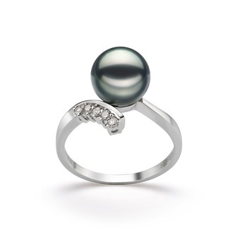 Grace Black 8-9mm AA Quality Japanese Akoya 14K White Gold Cultured Pearl Ring