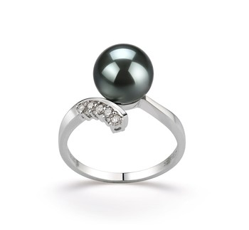 Grace Black 8-9mm AAA Quality Tahitian 14K White Gold Cultured Pearl Ring