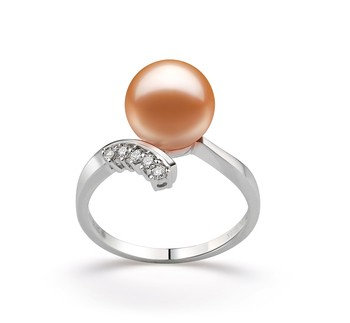 Grace Pink 9-10mm AAAA Quality Freshwater 14K White Gold Cultured Pearl Ring