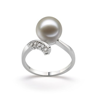 Grace White 9-10mm AAAA Quality Freshwater 14K White Gold Cultured Pearl Ring