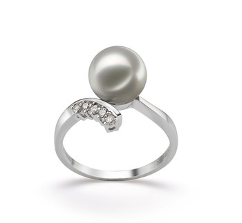 Grace White 8-9mm AA Quality Japanese Akoya 14K White Gold Cultured Pearl Ring