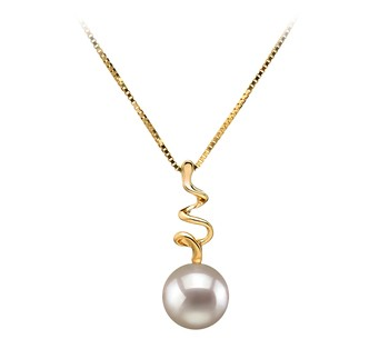 Greta White 6-7mm AA Quality Japanese Akoya 14K Yellow Gold Cultured Pearl Pendant