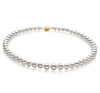 White 6-9mm Hanadama - AAAA Quality Japanese Akoya 14K Yellow Gold Cultured Pearl Necklace