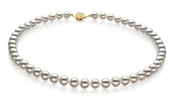 White 7.5-8mm Hanadama - AAAA Quality Japanese Akoya 14K Yellow Gold Cultured Pearl Necklace