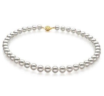 White 8.5-9mm Hanadama - AAAA Quality Japanese Akoya 14K Yellow Gold Cultured Pearl Necklace