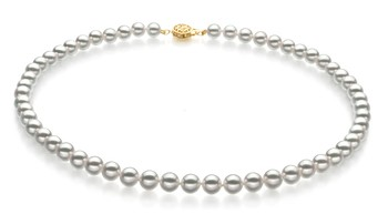 White 7-7.5mm Hanadama - AAAA Quality Japanese Akoya 14K Yellow Gold Cultured Pearl Necklace