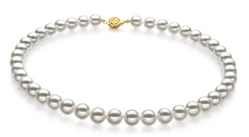 White 9-9.5mm Hanadama - AAAA Quality Japanese Akoya 14K Yellow Gold Cultured Pearl Necklace