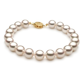 White 8.5-9mm Hanadama - AAAA Quality Japanese Akoya 14K Yellow Gold Cultured Pearl Bracelet
