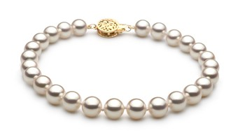 White 6.5-7mm Hanadama - AAAA Quality Japanese Akoya 14K Yellow Gold Cultured Pearl Bracelet