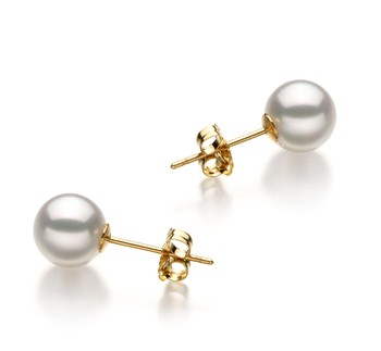White 6.5-7mm Hanadama - AAAA Quality Japanese Akoya Cultured Pearl Earring Pair