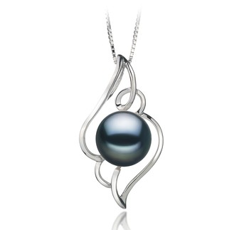 Hannah Black 12-13mm AA Quality Freshwater 925 Sterling Silver Cultured Pearl Pendant