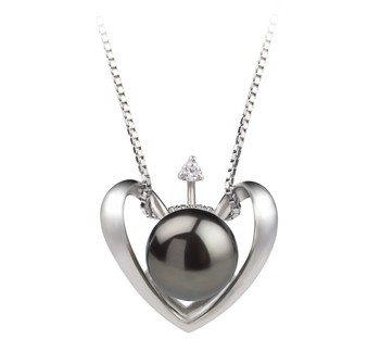 Heart Black 9-10mm AA Quality Freshwater 925 Sterling Silver Cultured Pearl Pendant