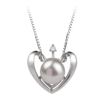 Heart White 9-10mm AA Quality Freshwater 925 Sterling Silver Cultured Pearl Pendant