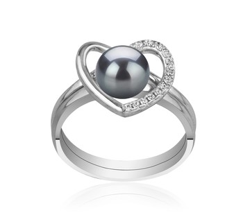 Heart Black 6-7mm AAAA Quality Freshwater 925 Sterling Silver Cultured Pearl Ring