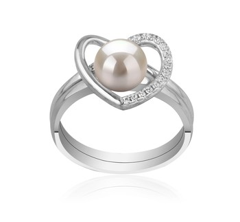 Heart White 6-7mm AAAA Quality Freshwater 925 Sterling Silver Cultured Pearl Ring