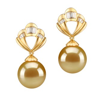 Helena Gold 10-11mm AAA Quality South Sea 14K Yellow Gold Cultured Pearl Earring Pair
