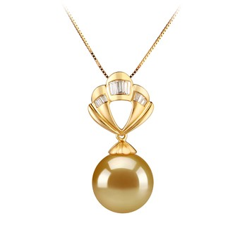 Helena Gold 12-13mm AAA Quality South Sea 14K Yellow Gold Cultured Pearl Pendant