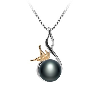 Hester Black 8-9mm AAA Quality Freshwater 925 Sterling Silver Cultured Pearl Pendant