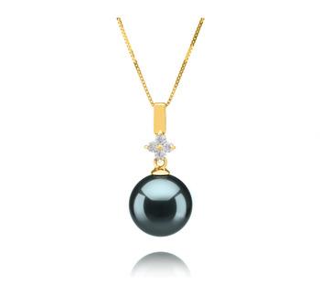 Hilda Black 10-11mm AAA Quality Tahitian 14K Yellow Gold Cultured Pearl Pendant
