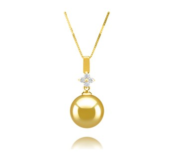Hilda Gold 10-11mm AAA Quality South Sea 14K Yellow Gold Cultured Pearl Pendant
